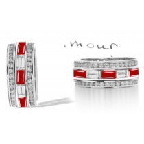 Stacked Round Ruby & Baguette Diamond Eternity Wedding Anniversary Ring