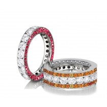 Made to Order Great Selection of Channel Set Brilliant Cut Round Diamonds Pink & Orange SapphireEternity Rings & Bands