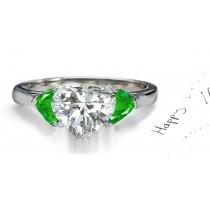 Pure Love:Heart Emerald & Heart Diamond 3 Stone Ring Created inGold