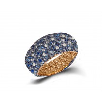 Eternity Ring with Diamonds & BlueSapphires in Gold or Platinum