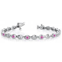 Circles of Sapphire & Diamond Link Chain Flat Bracelet