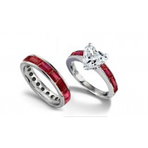 Heart Center Diamond & Baguette Pigeon Red Ruby Engagement Ring & Ruby & Gold Wedding Band
