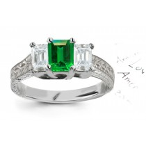 From The Past:14k Antique Style Emerald Cut Emerald & Diamond 3Stone Gold Ring