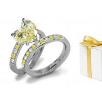 Yellow Diamond & White Diamond Fancy Rings