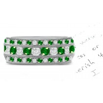 Metalwire Milgrain 3 Emerald & Diamond Rings