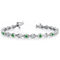 Emerald & Diamond Cluster Bracelet