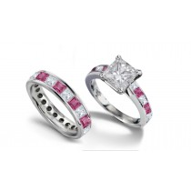 Princess Cut Diamond & Pink Sapphire Engagement Ring & Diamond Sapphire Band