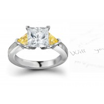 Trillion Yellow Sapphire 3 Stone Engagement Ring with Emerald-Cut Diamonds in 14k White Gold (5x3 mm, 3x3 mm)