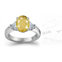 Trillion Yellow Sapphire 3 Stone Engagement Ring with Emerald-Cut Diamonds in Gold