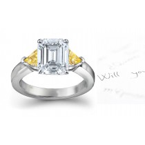 Trillion Yellow Sapphire Engagement Ring with Emerald-Cut Diamonds in 14k White Gold