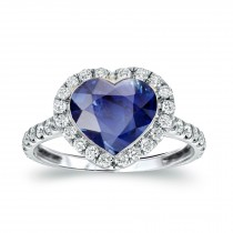 Made to Order Just For You Delicate Micro Pave Halo Diamonds & Heart Blue Sapphire Ring