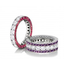 Made to Order Great Selection of Channel Set Brilliant Cut Round Diamonds Pink & Purple SapphireEternity Rings & Bands