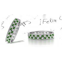 Milgrain Double Emerald & Diamond Anniversary Ring
