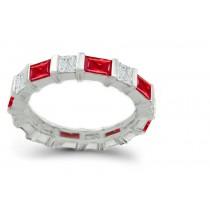 Princess Cut Diamond Baguette Ruby Wedding Band in 14k Gold
