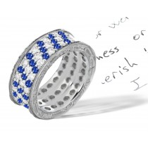 Stacked Water Blue Sapphire & Diamond Anniversary Ring in Gold