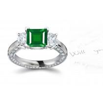 """""""Special Halo Design"""" 3 Stone Square Emerald & Round Diamond Halo Ring Embody Grace"""