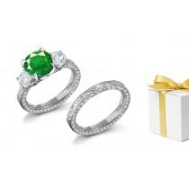 3 Stone Emerald Cut Diamond Engagement Halo Ring & Engraved DiamondHalo Band