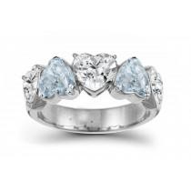 Designer Five StoneBlueDiamond Heart Ring