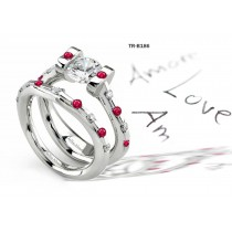 Ruby Gemstone Engagement & Wedding Tension Set Rings