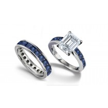Emerald Cut Diamond & Square Blue Sapphire Engagement & Wedding Set