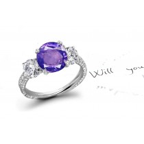 Dramatic:A Magnificent Blue Sapphire & White Diamond Micro Pave Ring
