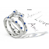 Blue Sapphire Engagement & Wedding Tension Set Rings