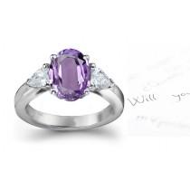 Fine Purple Sapphire & Glittering Diamond Engagement Ring