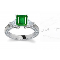 A Large Varying Assortment:A Square Emerald & Trillion3-Stone Diamond & Platinum Halo Ring in 14k Rose Gold View Sides