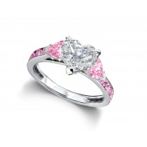 Heart Diamond & Pink Sapphire Three Stone Engagement Ring With Side Accents