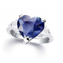 Custom Manufactured Three Stone Heart-Shaped Diamonds & Blue Sapphire Ring