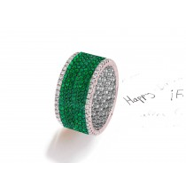 Channel &Prong SetRound Diamond & Green EmeraldEternity Bands