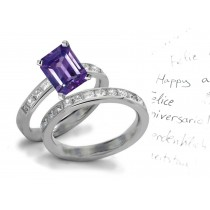 Style & Design: Lively Very Rare Purple Sapphire & Sparkling Diamond Unique Wedding & Engagement  Rings