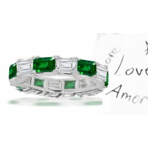 """Special Design"" Emerald Cut Diamond & Emerald Cut Emerald Eternity Ring"