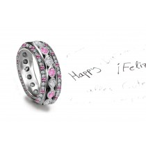 Popular: Stacked Pink Sapphire Diamond Eternity Bubble Band in Platinum
