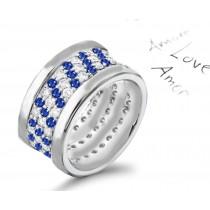Wide Micropavee Sapphire Diamond Eternity Wedding Ring Platinum & Gold