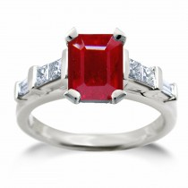 Ruby Engagement Anniversary Ring: Ruby Oval and Diamond Pears Three Stone Ring
