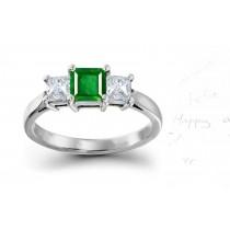 """Vibrant"" 3 StoneSquare Natural Emerald & Princess Cut Diamond Popular Fashionable Ring"