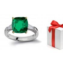"""Foretell Future:14k """"Vibrant"""" 3 Stone Cushion Cut Emerald & Baguette Diamond Ring Gold"""
