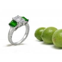 Old European Rings:Antique Style Emerald Cut Emerald & Diamond 3Stone Ring