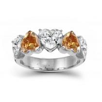 Designer Five StoneBrownDiamond Heart Ring