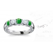 The Most Magnificient: 14k Gold & Diamond Emerald Five Stone Ring