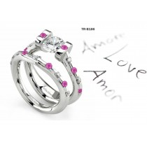 Pink Sapphire Engagement & Wedding Tension Set Rings