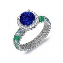StunningPave Cluster Diamond & Multi-Colored Precious Stones Rubies, Emeralds & Blue, Pink, Purple, Yellow Sapphires