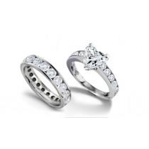 Designer Heart Diamond & Round Diamond Accents Engagement Ring & Matching Wedding Band in Platinum