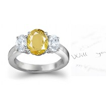 Yellow Sapphire & Diamond Engagement Ring