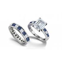 Emerald Cut Diamond & Square Blue Sapphire Ring & Matching Wedding Band