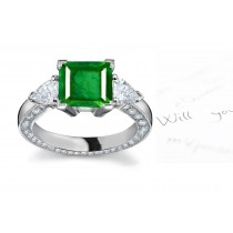 A Selected Assortment:A Iconic Star Square Emerald & Pear Shape Diamond 3-Stone Hal