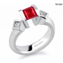 Princess Cut Ruby Diamond Gemstone Diamond Tension Set Engagement Rings