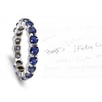 Vivid Ultramarine Full Blue Sapphire Round Eternity Ring in Platinum