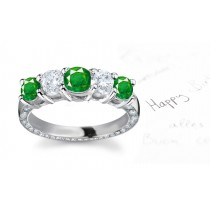 Most Notable Collection: 14k Gold Diamond Emerald Five Stone Ring